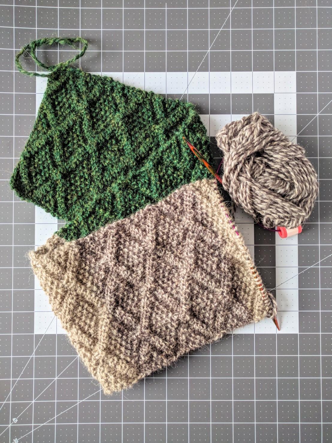Diamond scarf knitting project in progress